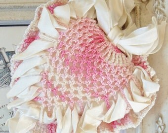 Vintage / Heart Shaped Pillow / Variegated Doilies / Ombre / Satin Ribbon / Ring Pillow