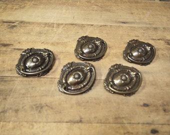 Free Shipping Lot of 5 Fabulous vintage oval at drawer pulls  hardware for restoration cabinet or dresser