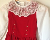 Girls Size 6 Red Velvet Dress with White Lace Collar Shirt-Vintage-Made in USA