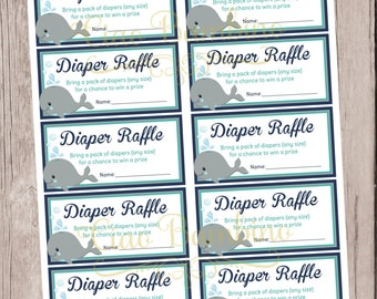 PRINTABLE Diaper Raffle Baby Shower Insert / Whale Baby Shower in Navy Blue, Gray and Turquoise / You Print - 0025