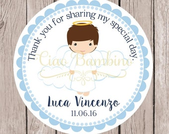 Baptism Favor Tags or Stickers / Baby Boy Angel Tags for Christening, Baby Dedication, Baby Naming / Choose Hair Color / Set of 12
