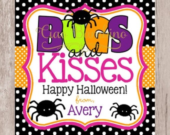 PRINTABLE Halloween Bugs and Kisses Tags / Halloween Spider Tags Personalized with Name / Orange, Black, Green, Pink & Purple / You Print