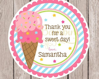Ice Cream Birthday Party Favor Tags or Stickers / Pink, Blue, Green and Yellow Ice Cream Party / Ice Cream Social Stickers / Set of 12