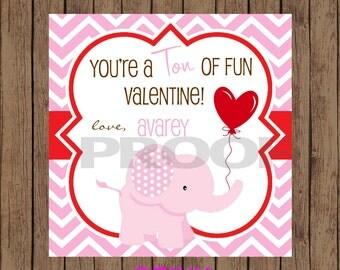 ELEPHANT Valentine Favor Tags / Elephant Favor Tags / Valentine Favor Tags / Pink Elephant Valentine Tags / PRINTABLE / Set of 12