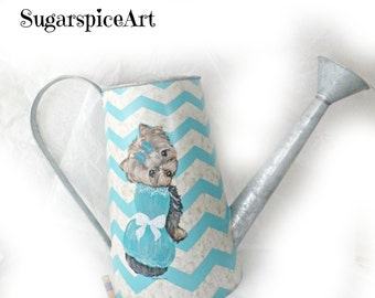Yorkie Hand Painted Chevron Watering Can SugarspiceArt