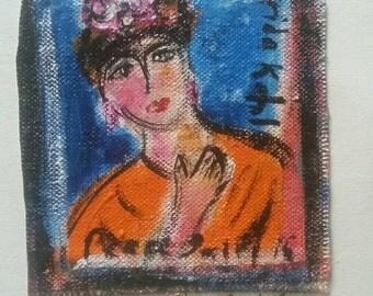 Frida Kalho original PeaceSwirl painting tiny #3