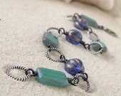 Glass Beaded Bracelet - Glass Bead Jewelry - Blue and Teal Bead Braclet - Beach Jewelry - Bead Link Bracelet - Antique Silver Bracelet