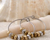 Hypoallergenic Earrings - Beaded Jewelry - Hoop Earrings - Gold and Bronze Hoop Earrings - Hypoallergenic Hoop Earrings - Titanium Earring