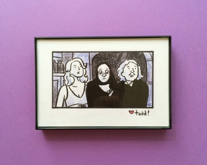Art, Young Frankenstein, 4 x 6 inch Print, ink and crayon drawing, Mel Brooks, Gene Wilder, movies
