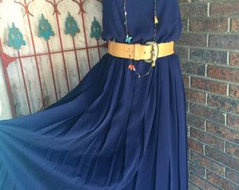 1980s dress navy blue dress 80s dress vintage sundress size medium large sheer dress vintage dress blouson