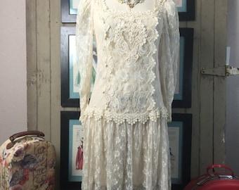 On sale 1980s dress sheer lace dress 80s dress size medium Vintage dress flapper dress 1920s style dress