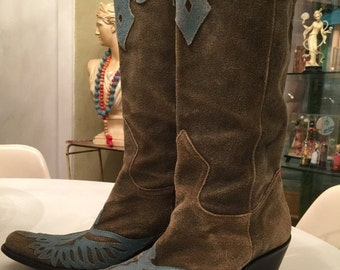 Fall sale Suede cowboy boots size 7 grey vintage boots western boots distressed womans boots