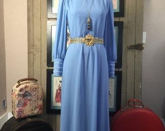 Fall sale 1970s maxi dress 70s blue dress size medium Vintage dress puff sleeve dress avant garde gown