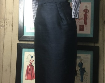 Fall sale 1950s pencil skirt 50s silk skirt size small Vintage wiggle skirt navy blue
