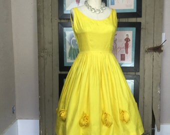 1950s party dress 50s yellow dress vintage dress full skirt rosettes size small