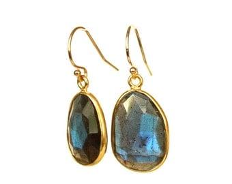 Blue Labradorite Earrings/14K Gold Filled with Bezel Set, Framed Stones/Elegant Dangle and Drop Earrings