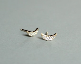 Crescent Moon Studs/Pave studs/Classic Elegant Studs/Gifts for Her