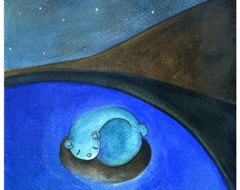 blue lake 2 - the sleeping bear  ( Print ) dreamy, bedroom wall decor, whimsical
