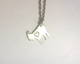 Mini Goat with Heart necklace-Vegan Necklace-Vegan Jewelry-Gift-Birthday-Anniversary-Capricorn-Zodiac-Ethical-Eco Friendly-Personalized