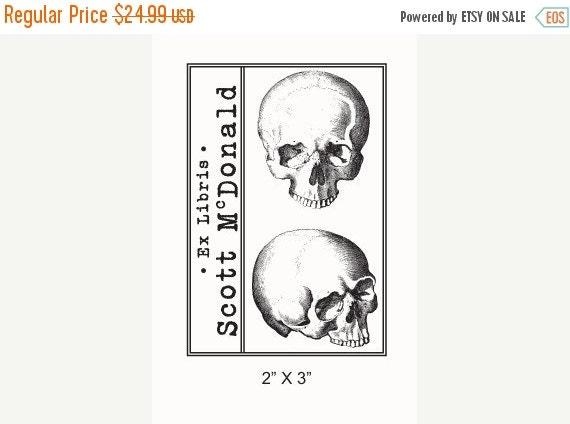 Octoberfest Sale Personalized Anatomical Skulls Human Anatomy Ex Libris Bookplate Rubber Stamp F21