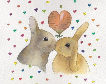 Rabbit wedding card or engagement card, rabbits in love - Design No 41