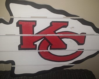 Kansas City Chiefs sign made from reclaimed lumber, hand painted