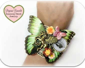 Royal Pegasus Cuff Bracelet Butterfly and Flowers