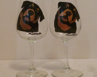 Rottweiler Dog Wine Glasses set of 2 Hand Painted by Mary Wilson of Pet Lovers Boutique