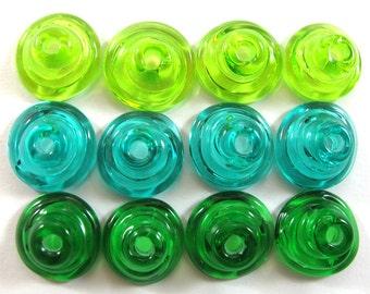 Handmade Lampwork Beads Glass, Lampwork beads set, Cone Shape Bead Caps, green (12) SRA