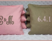 Wedding Cornhole Bags Personalized Set of 8 Tan and Light Pink