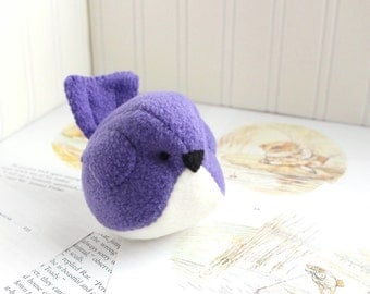 Purple Fleece Bird Stuffed Animal Childrens Purple Plush Bird