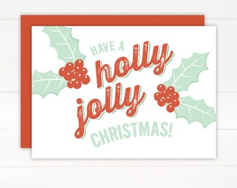 SALE 50% OFF - Christmas Card - HOLLYJOLLY Holiday Card Set of 8