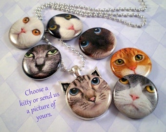Cat Necklace, Cat Pendant, Custom Cat Face, Cat Jewelry, Cat Ear Pendant, Cat Lover Gift, Cat Rescue, Custom Cat Photo, Cat Face, Set 1