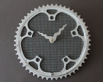 Bicycle Gear Clock - Wool Houndstooth  |  Bike Clock  | Wall Clock | Recycled Bike Parts Clock