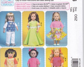 "McCalls 7106 Doll Clothes 18"" Easy Sewing Pattern New UNCUT"