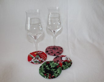 Festive Holiday Fabric Coasters set of 4