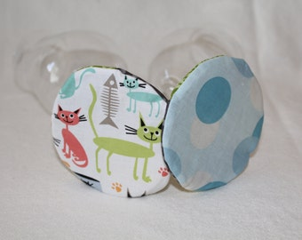 Cats at Home Fabric Wine Coasters set of 4