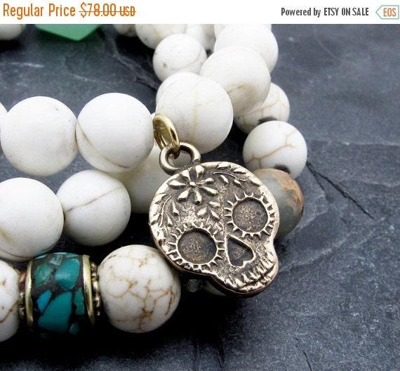 sugar skull bracelet, day of the dead jewelry, luxury bracelet, conch shell bracelet, turquoise bracelet, luxury jewlery, gift for her