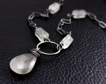 Reeds Necklace in Tourmalated Quartz and Sterling Silver