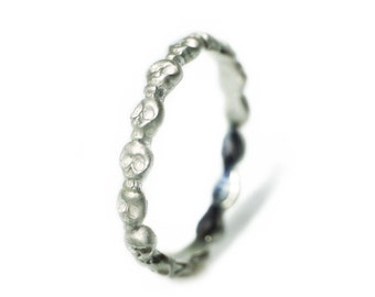 Mini Skull Eternity Band Ring in Sterling Silver, Alternative Wedding Band