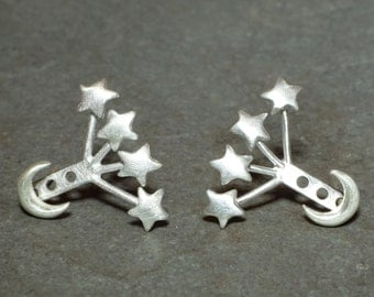 Small Moon and Tiny Star Ear Jacket in Sterling Silver