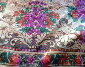 Vintage Cut Velvet Tapestry Wall Hanging, Rug, or Bedspread with Roses, Cherubs. Gypsy Boho Chic Decor, Rich Colorful Textile, 1940s / 50s.