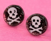Glitter Skull Ear Posts - Studs - Skull Stud Earrings - Black & White