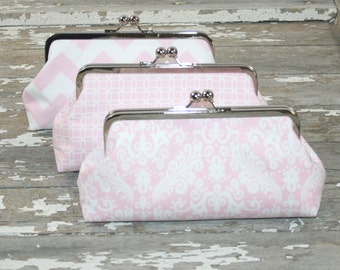 Pastel Wedding Clutches,  Personalized Bridesmaid Gifts, Set of 3 Spring Pastel, Bridesmaid Accessory