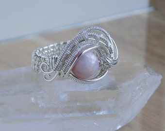 Pink Kunzite Eye Ring Wire Wrapped Ring Sterling Silver Wire Wrapped Jewelry Handmade Size 8 Wire Wrap Crystal Healing Scifi Fantasy Ring