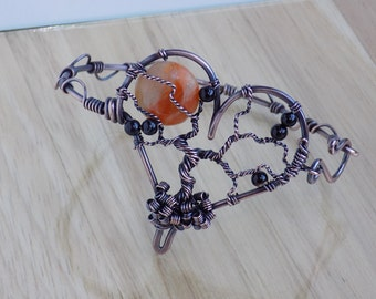 Tree of Life Heart Bracelet Orange Calcite and Black Agate Wire Wrapped in Oxidized Copper Wire Wrapped Jewelry Handmade Boho Hippie Bangle