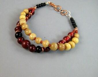 Bohemian jewelry, boho bracelet, two strand beaded bracelet, red beaded bracelet, rustic red brown copper womens bracelet, gypsy,