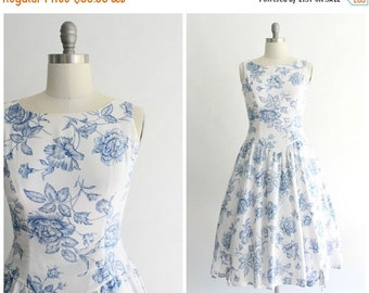 ON SALE floral sundress | vintage 1980s white and blue floral sundress | vtg 80s princess sun dress | medium