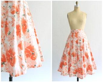 peach floral skirt | vintage 1950s high waist peach floral | vtg 50s paneled cotton skirt | small