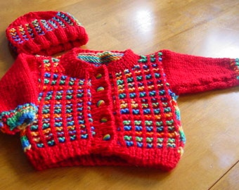 Hand Knitted Baby Sweater and Bonnet Infant Sweater Set